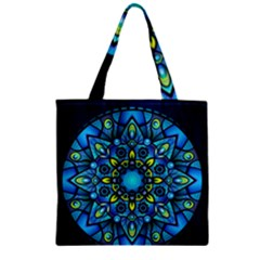 Mandala Blue Abstract Circle Zipper Grocery Tote Bag by Celenk