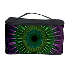 Purple Mandala Fractal Glass Cosmetic Storage Case by Celenk