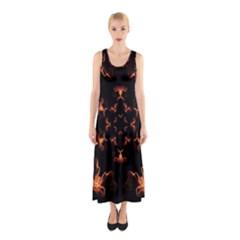 Mandala Fire Mandala Flames Design Sleeveless Maxi Dress