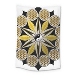 Mandala Yin Yang Live Flower Small Tapestry by Celenk