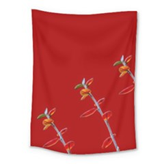 Red Background Paper Plants Medium Tapestry by Celenk