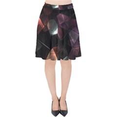 Crystals Background Design Luxury Velvet High Waist Skirt by Celenk