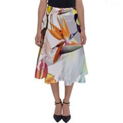 Exotic Birds Of Paradise And Flowers Watercolor Perfect Length Midi Skirt by TKKdesignsCo