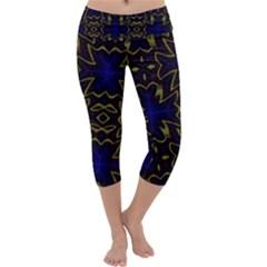 Background Texture Pattern Capri Yoga Leggings by Celenk