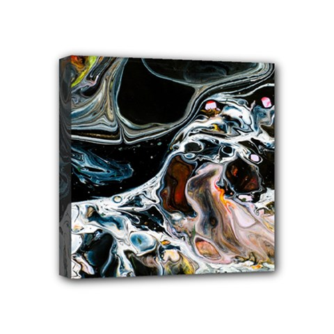 Abstract Flow River Black Mini Canvas 4  X 4  by Celenk