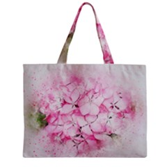 Flower Pink Art Abstract Nature Zipper Mini Tote Bag by Celenk