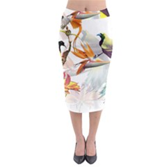 Exotic Birds Of Paradise And Flowers Watercolor Midi Pencil Skirt by TKKdesignsCo