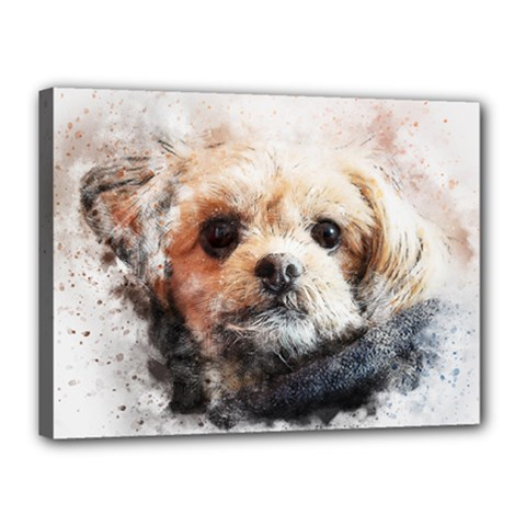 Dog Animal Pet Art Abstract Canvas 16  X 12  by Celenk