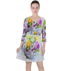 Flowers Vase Art Abstract Nature Ruffle Dress