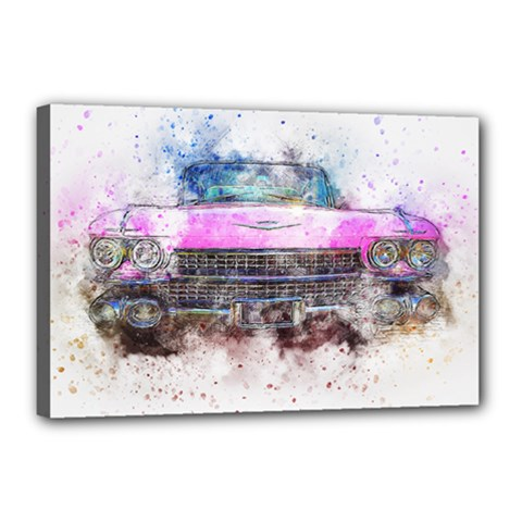 Pink Car Old Art Abstract Canvas 18  X 12  by Celenk