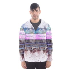 Pink Car Old Art Abstract Hooded Wind Breaker (men) by Celenk
