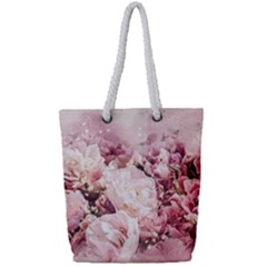 Flowers Bouquet Art Abstract Full Print Rope Handle Tote (small)