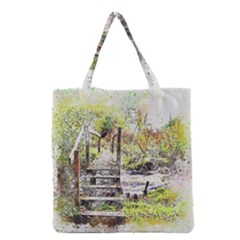 River Bridge Art Abstract Nature Grocery Tote Bag by Celenk