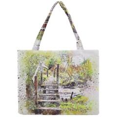 River Bridge Art Abstract Nature Mini Tote Bag by Celenk