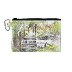 River Bridge Art Abstract Nature Canvas Cosmetic Bag (medium) by Celenk