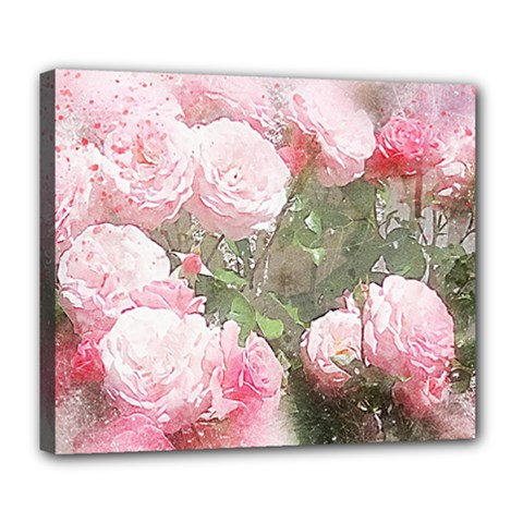 Flowers Roses Art Abstract Nature Deluxe Canvas 24  X 20