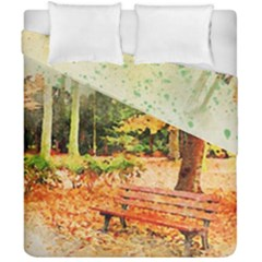 Tree Park Bench Art Abstract Duvet Cover Double Side (california King Size) by Celenk