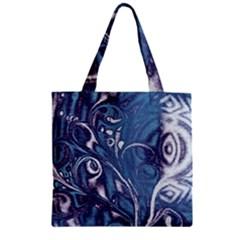 Mystic Blue Flower Zipper Grocery Tote Bag by Cveti
