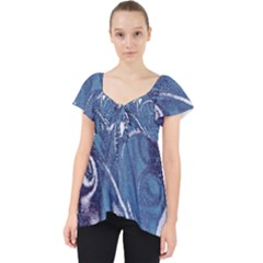 Mystic Blue Flower Lace Front Dolly Top