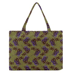 Green Purple And Orange Pear Blossoms Zipper Medium Tote Bag by ssmccurdydesigns