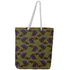 Green Purple And Orange Pear Blossoms Full Print Rope Handle Tote (large) by ssmccurdydesigns