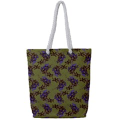 Green Purple And Orange Pear Blossoms Full Print Rope Handle Tote (small) by ssmccurdydesigns