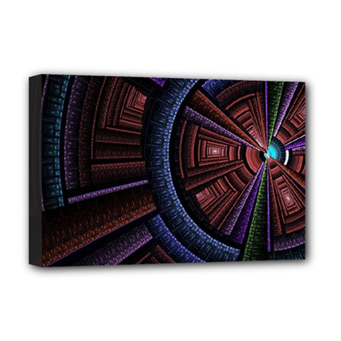 Fractal Circle Pattern Curve Deluxe Canvas 18  X 12   by Celenk