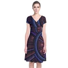Fractal Circle Pattern Curve Short Sleeve Front Wrap Dress by Celenk