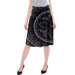 Fractal Abstract Purple Majesty Midi Beach Skirt by Celenk
