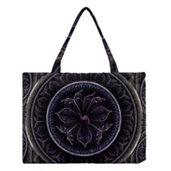 Fractal Abstract Purple Majesty Medium Tote Bag by Celenk