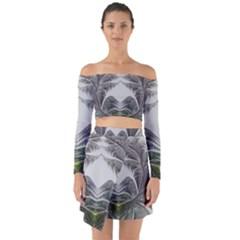 Fractal White Design Pattern Off Shoulder Top With Skirt Set