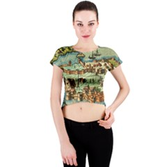 Medeival Ancient Map Fortress Crew Neck Crop Top
