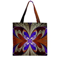 Fractal Splits Silver Gold Zipper Grocery Tote Bag by Celenk