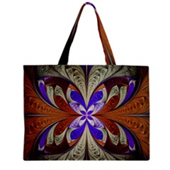 Fractal Splits Silver Gold Zipper Mini Tote Bag by Celenk