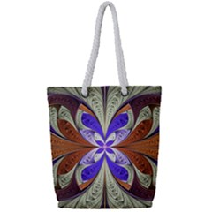 Fractal Splits Silver Gold Full Print Rope Handle Tote (small) by Celenk