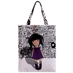 Dolly Girl In Purple Zipper Classic Tote Bag by Valentinaart