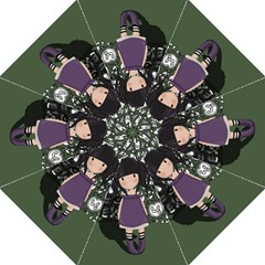 Dolly Girl In Purple Folding Umbrellas by Valentinaart