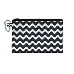 Wave Pattern Wavy Halftone Canvas Cosmetic Bag (medium) by Celenk