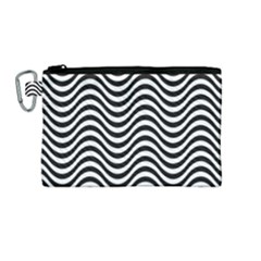 Wave Pattern Wavy Water Seamless Canvas Cosmetic Bag (medium) by Celenk