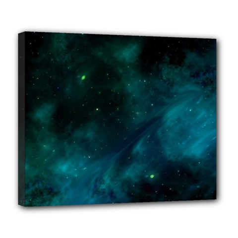 Green Space All Universe Cosmos Galaxy Deluxe Canvas 24  X 20   by Celenk