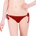 Brown Circle Pattern On Red Bikini Bottom