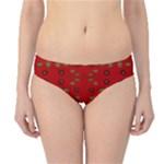 Brown Circle Pattern On Red Hipster Bikini Bottoms