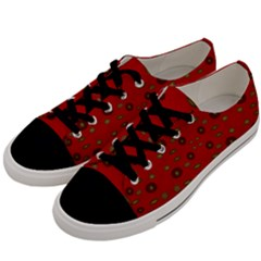 Brown Circle Pattern On Red Men s Low Top Canvas Sneakers by BrightVibesDesign