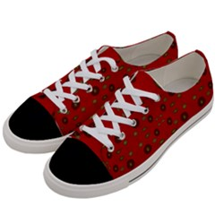 Brown Circle Pattern On Red Women s Low Top Canvas Sneakers by BrightVibesDesign