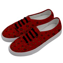 Brown Circle Pattern On Red Men s Classic Low Top Sneakers by BrightVibesDesign