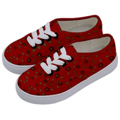 Brown Circle Pattern On Red Kids  Classic Low Top Sneakers by BrightVibesDesign