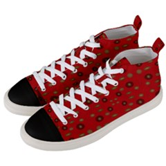 Brown Circle Pattern On Red Men s Mid Top Canvas Sneakers by BrightVibesDesign