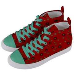 Brown Circle Pattern On Red Women s Mid Top Canvas Sneakers by BrightVibesDesign