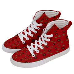 Brown Circle Pattern On Red Men s Hi Top Skate Sneakers by BrightVibesDesign