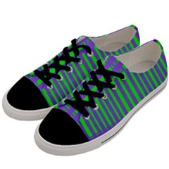 Bright Green Purple Stripes Pattern Men s Low Top Canvas Sneakers by BrightVibesDesign